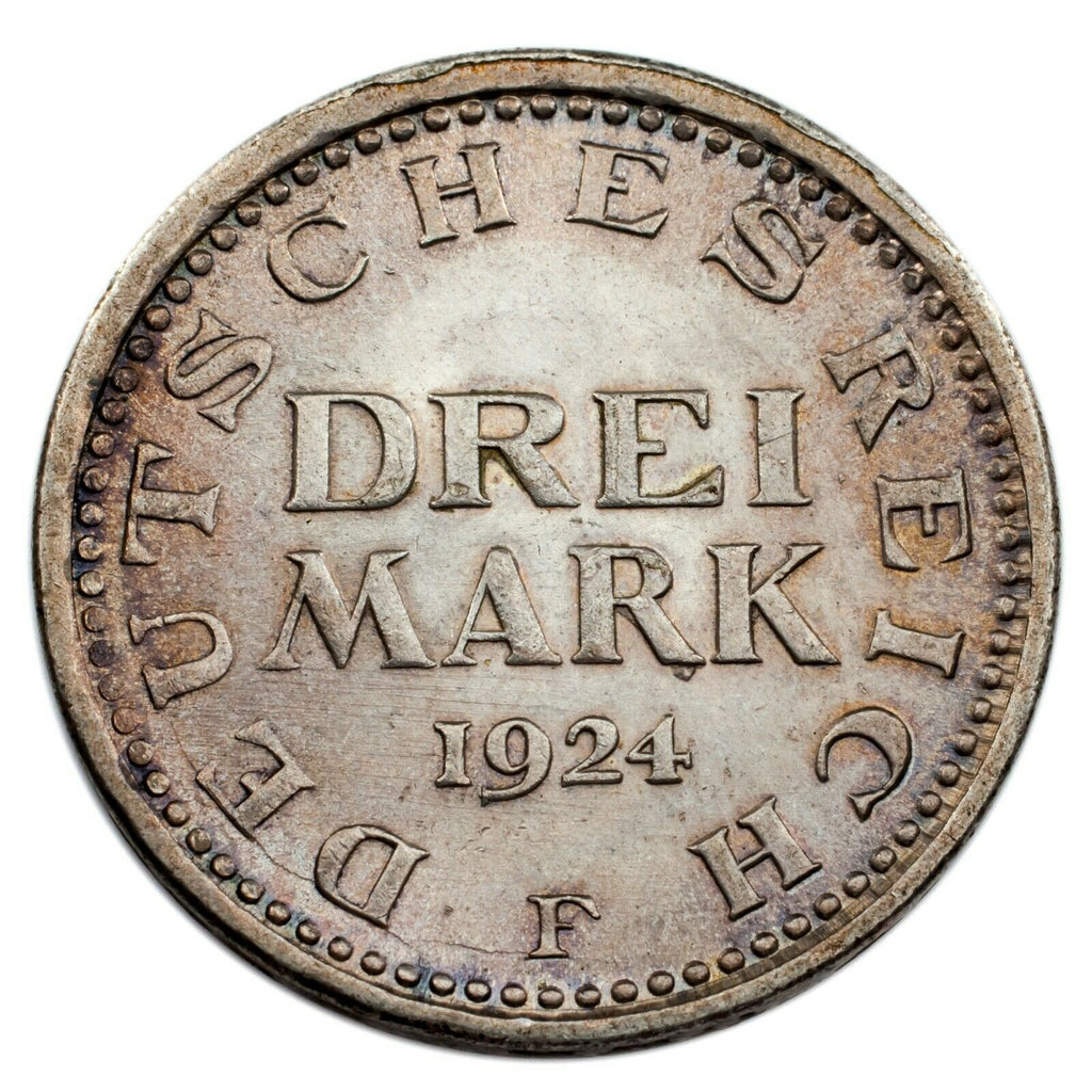 1924-F Germany 3 Mark Graded by NGC as MS-63! Great Silver Coin!