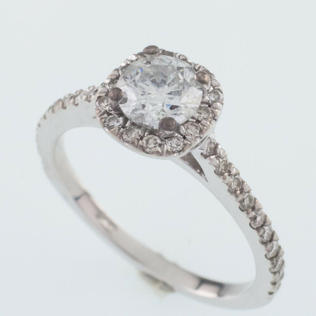 14k White Gold Diamond Solitaire Ring w/ Accents TDW 1.10 ct Size 3.75 w/ Cert