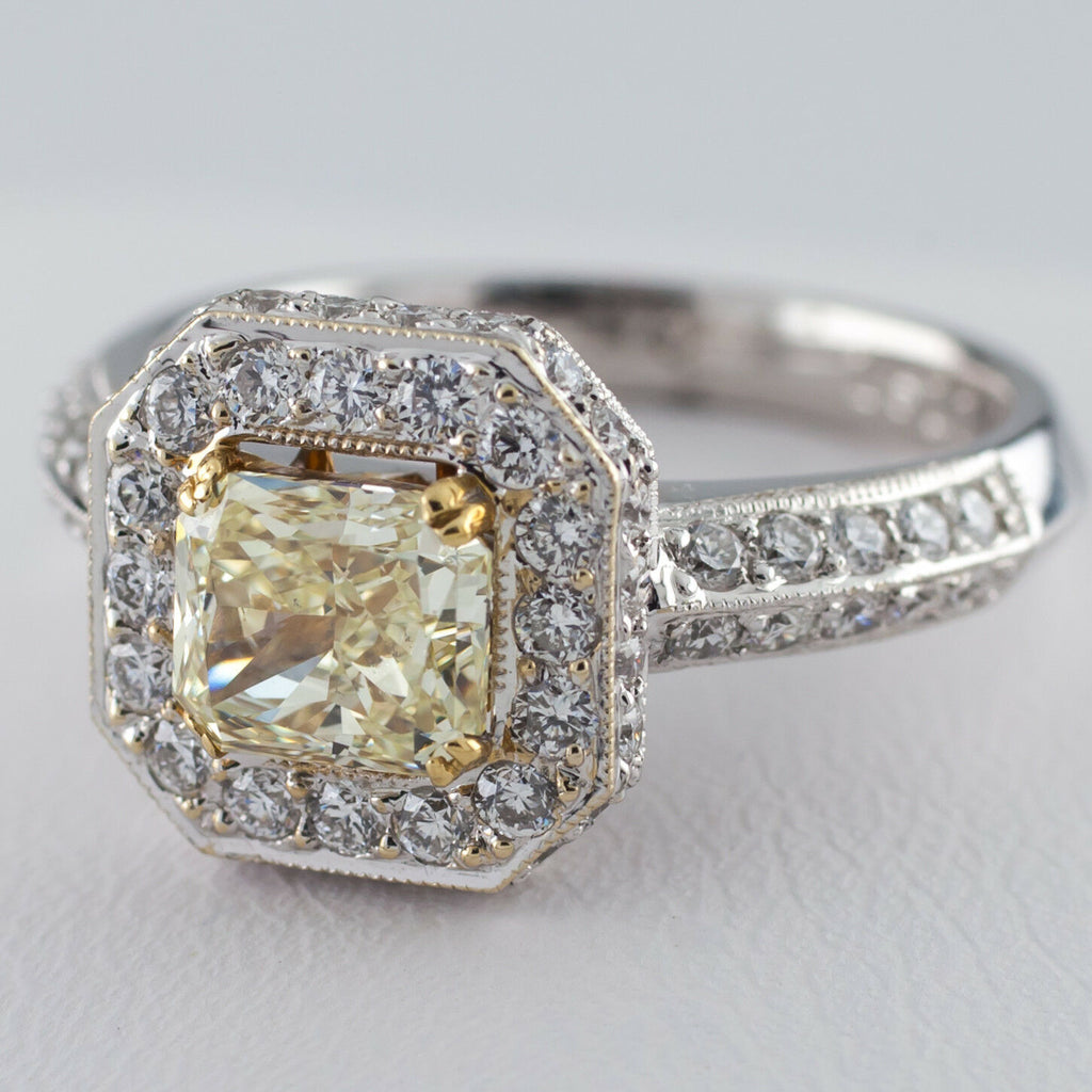 Fancy Radiant Yellow Solitaire Diamond 18k Two Tone Halo Ring Size 7