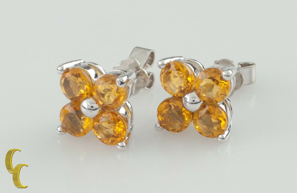 14K White Gold Yellow Sapphire Flower Stud Earrings TSW = 2 carats