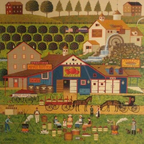 """Apple Butter Makers"" by Charles Wysocki, Offset Lithograph on Paper, 130/1000"
