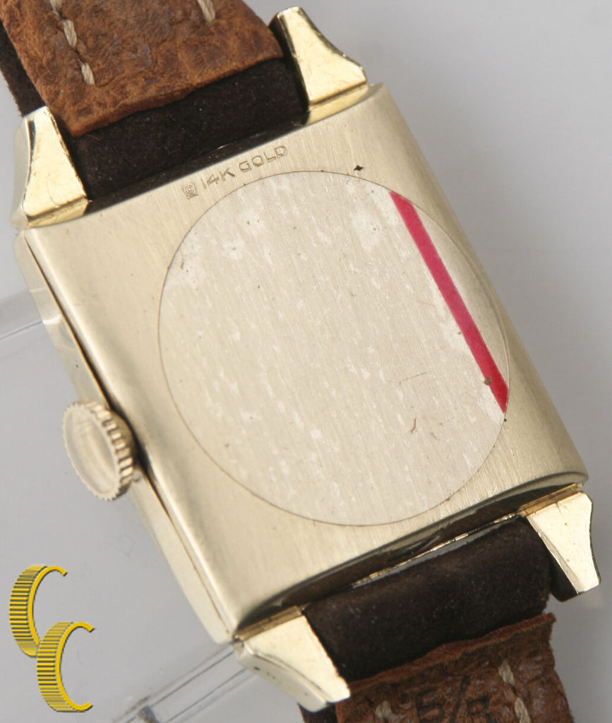 Wittnauer Vintage Men's 14k Yellow Gold Hand-Winding Watch w/ Brown Leather Band