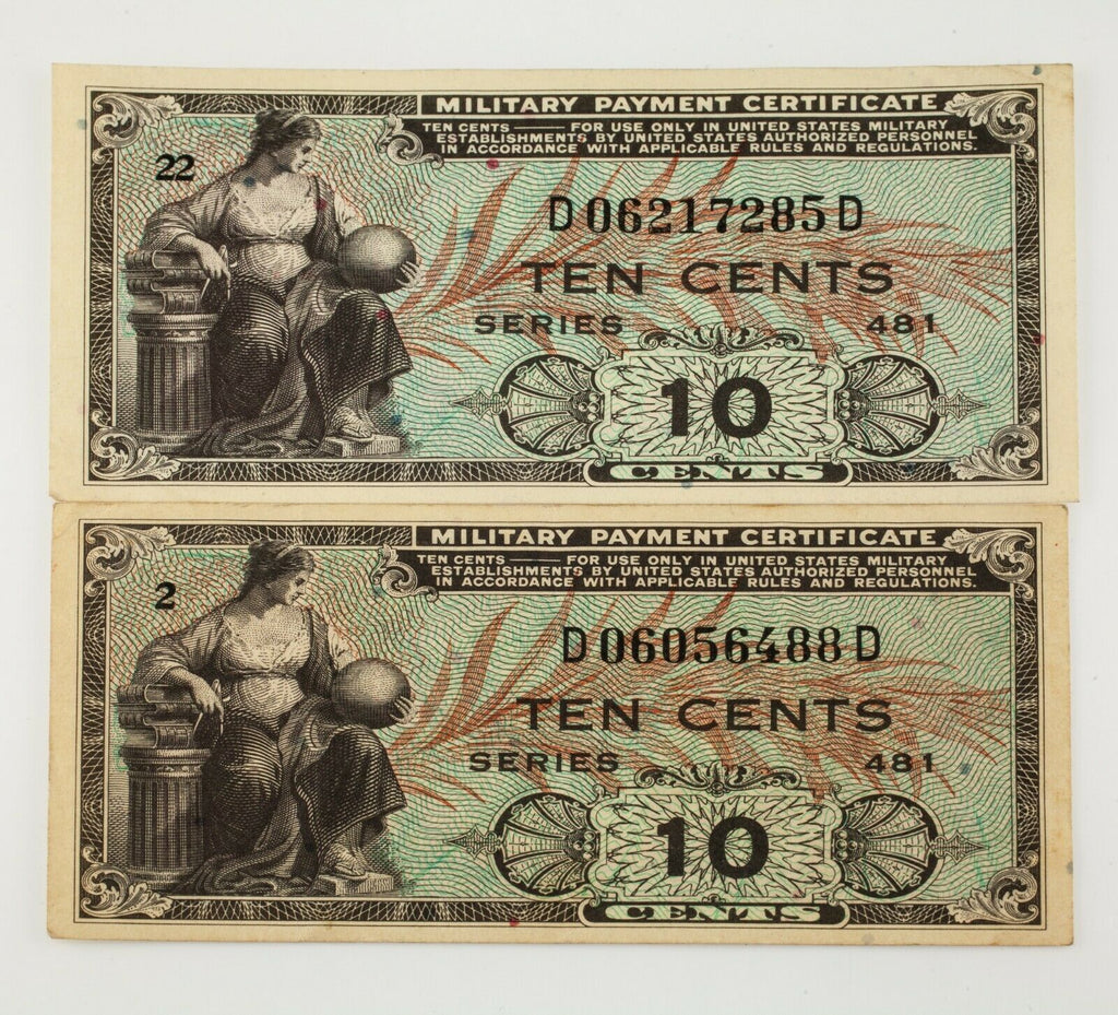 1951-1954 US Military Payment 10 Cents Note Lot of 2, Series 481