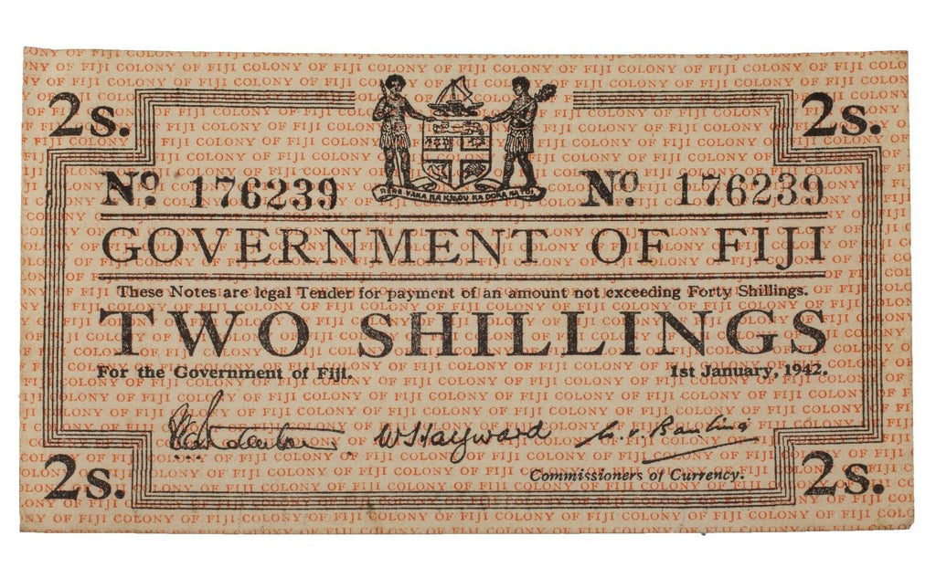 1942 Fiji 2 Shillings Emergency Issue Note in AU, P.50a