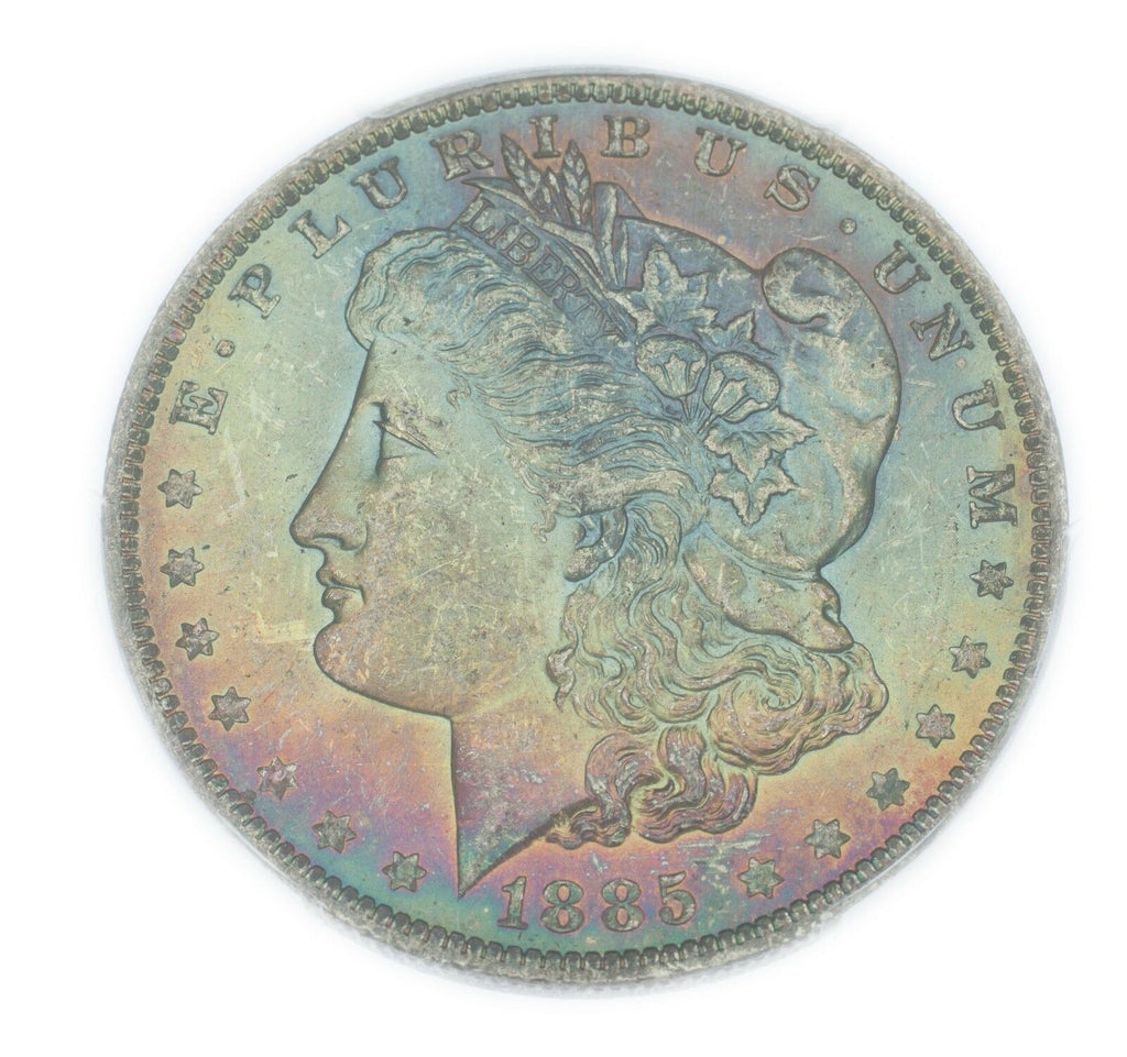 1885-O $1 Morgan Silver Dollar Graded by PCGS as MS64 **RAINBOW OBVERSE**