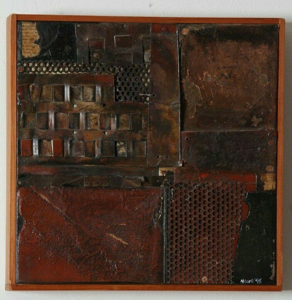Mixed Media Collage by Father Bill Moore on Canvas 12 x 12 in Wood Frame