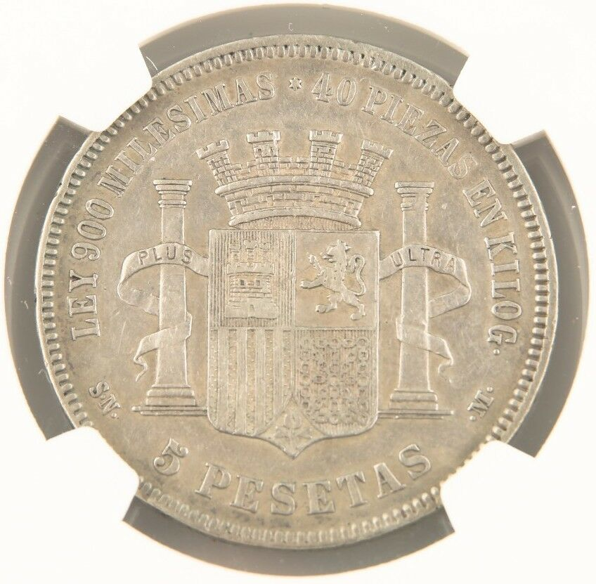1870(70) SNM Spain 5 Pesetas Silver Coin VF-35 NGC Provisional Government KM-655
