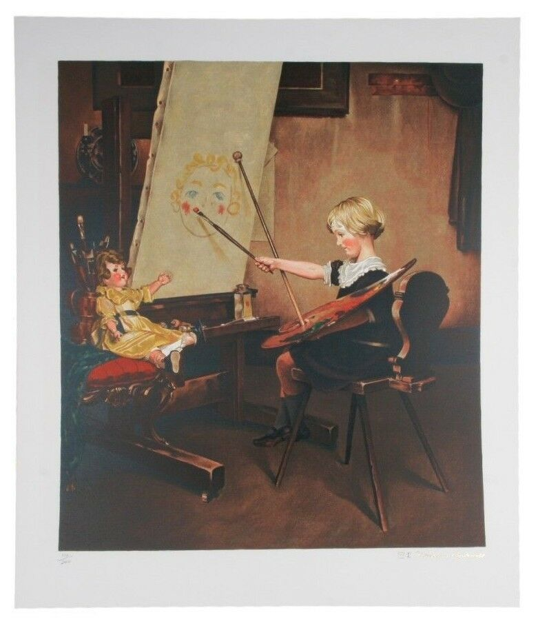 """Artist's Daughter"" by Norman Rockwell Lithograph on Arches Paper Ettinger Inc."