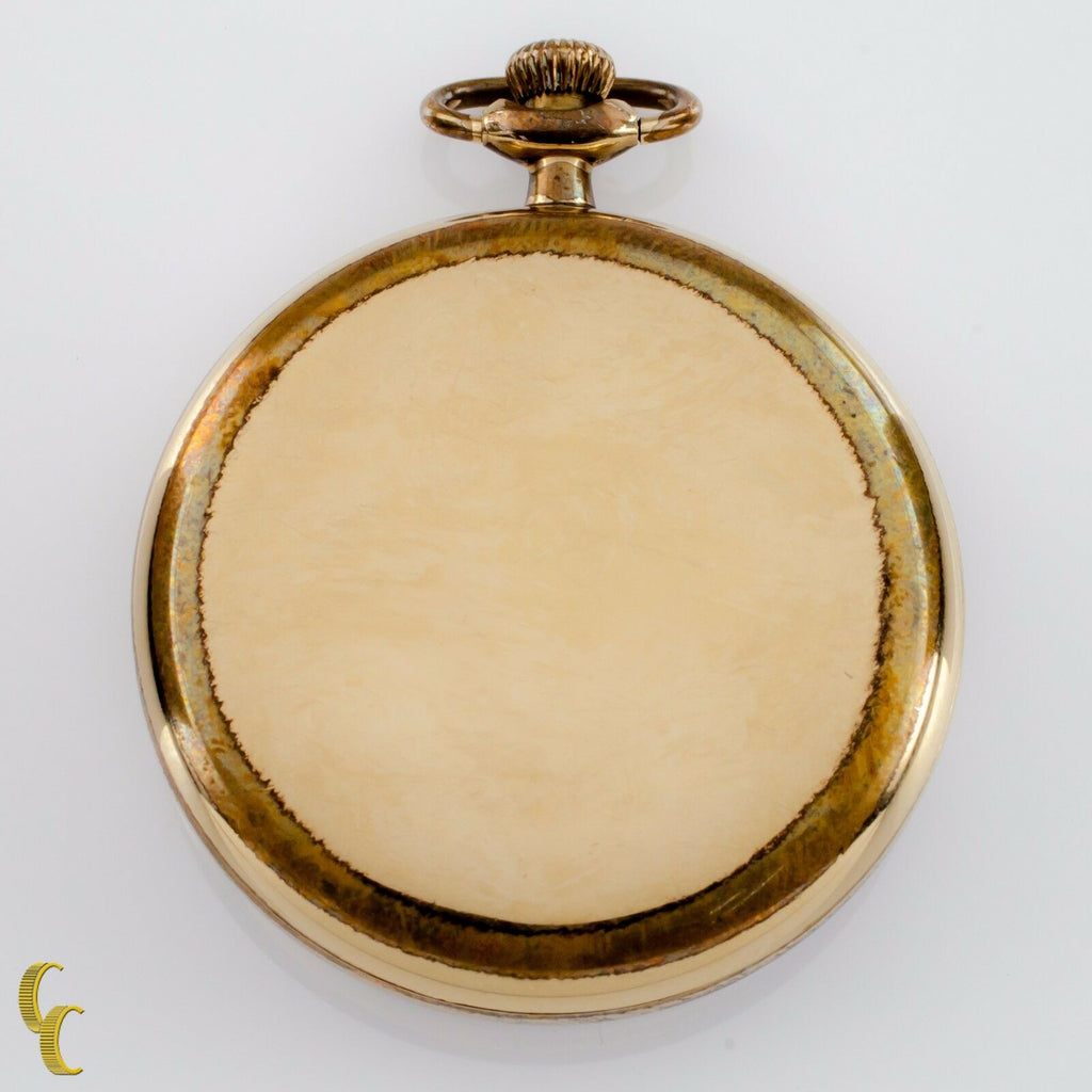 Yellow Gold Filled Waltham Open Face Pocket Watch 15 Jewel Size 17 1914