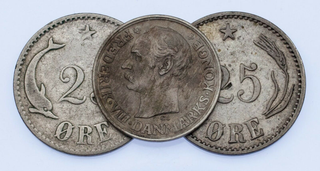 1874-1912 Denmark 10-25 Ore Coin Lot of 3, KM 796.1, 796.2, 807