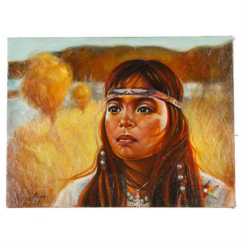 Untitled (Native American Girl on Prarie) By Anthony Sidoni 1986 Oil on Canvas