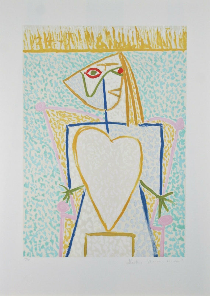 """Femme au Buste en Coeur"" from Marina Picasso Estate Ltd Edition of 500 Litho"