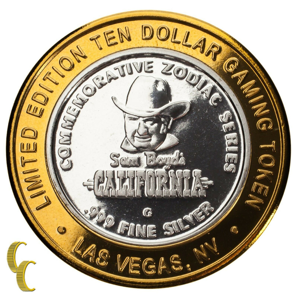 Sam Boyd's Las Vegas NV $10 Gaming Token Year of the Rooster 999 Fine Silver