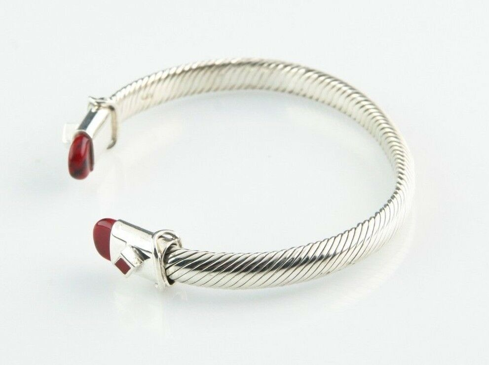"Sterling Silver Cable Cuff Bracelet Bloodstone Accents 7"" Long 6 mm Wide 28.8 g"