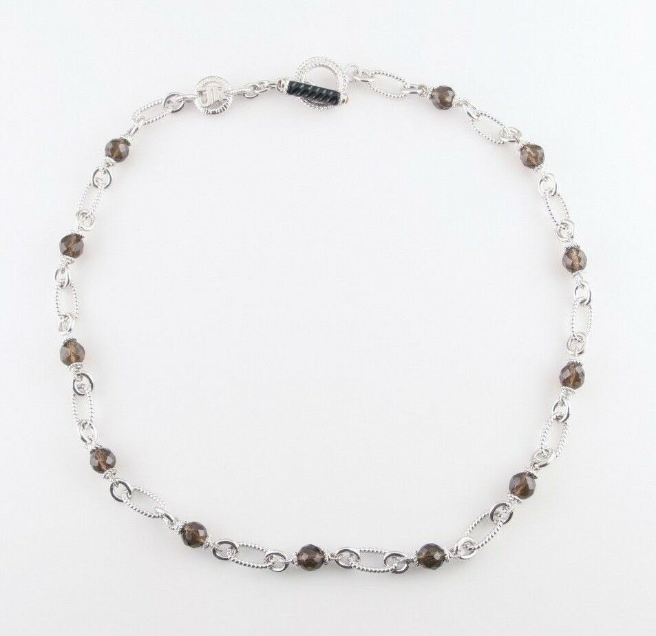 Judith Ripka Sterling Silver Chain Toggle Necklace w/ Smoky Quartz Beads 22""