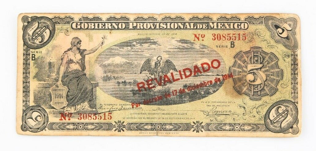 1914 Mexico Revolution 5 Peso Notes Lot (30) VF Gobierno Provisional P#S702b