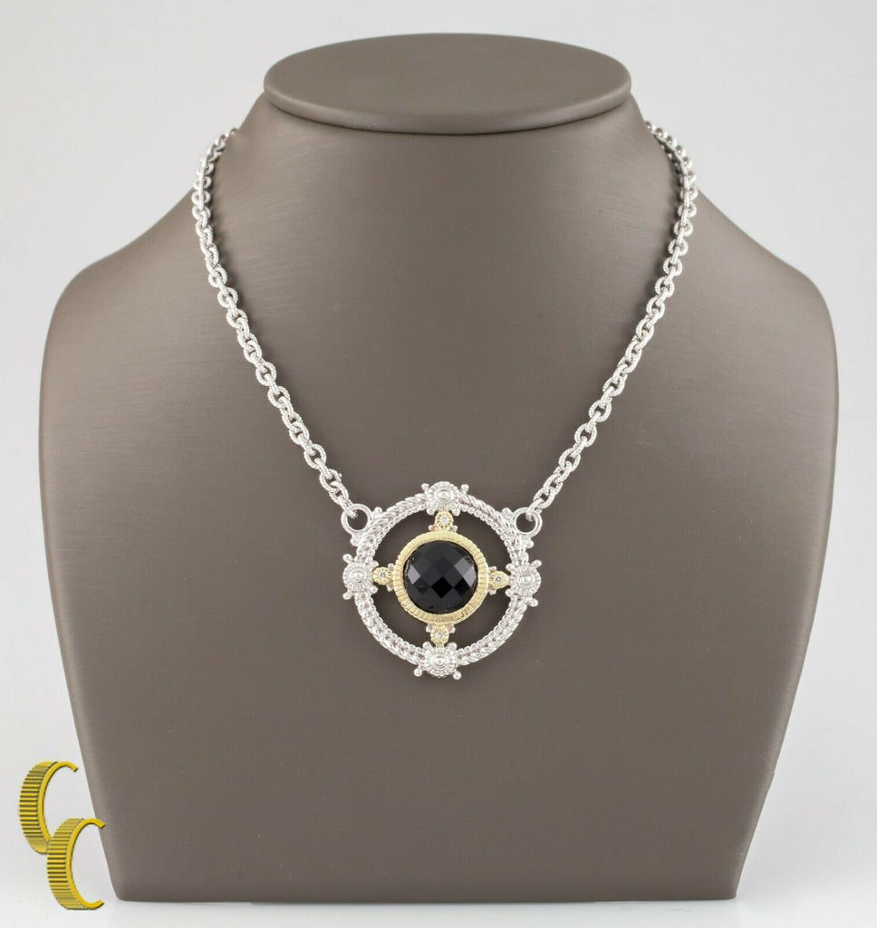Judith Ripka 18k Yellow Gold & Sterling Silver Cushion Cut Quartz Necklace