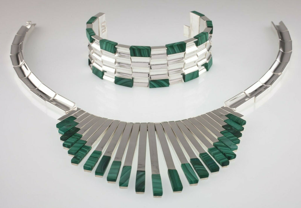 Gorgeous Sterling Silver Malachite Bracelet and Necklace Set Monteros Mexico