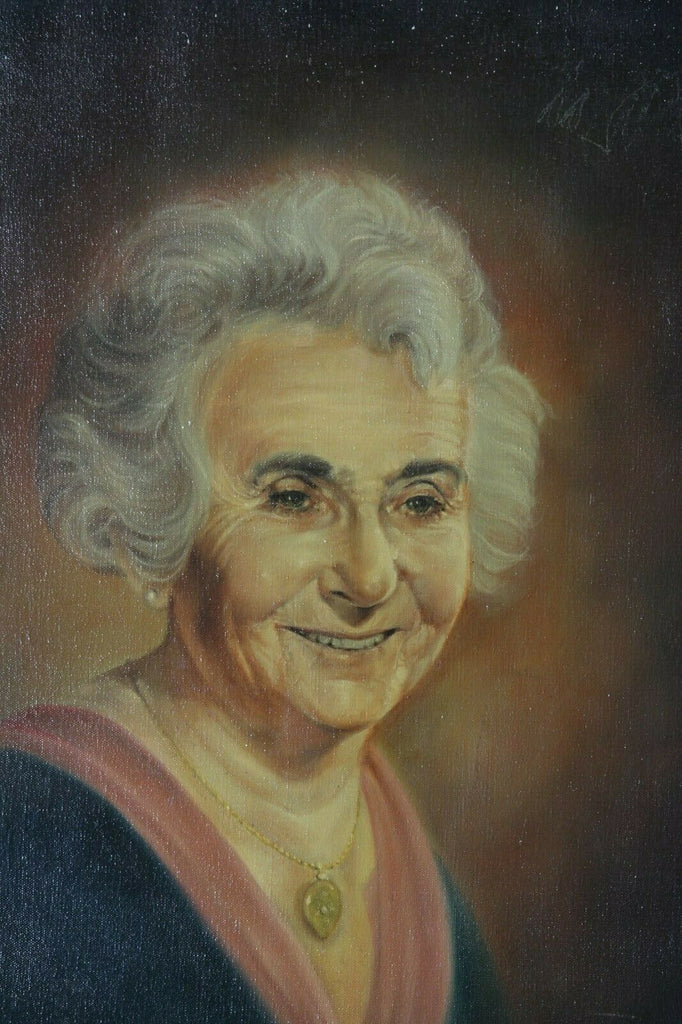Untitled (Portrait of Elderly Woman) By Anthony Sidoni 1971 Signed Oil on Canvas