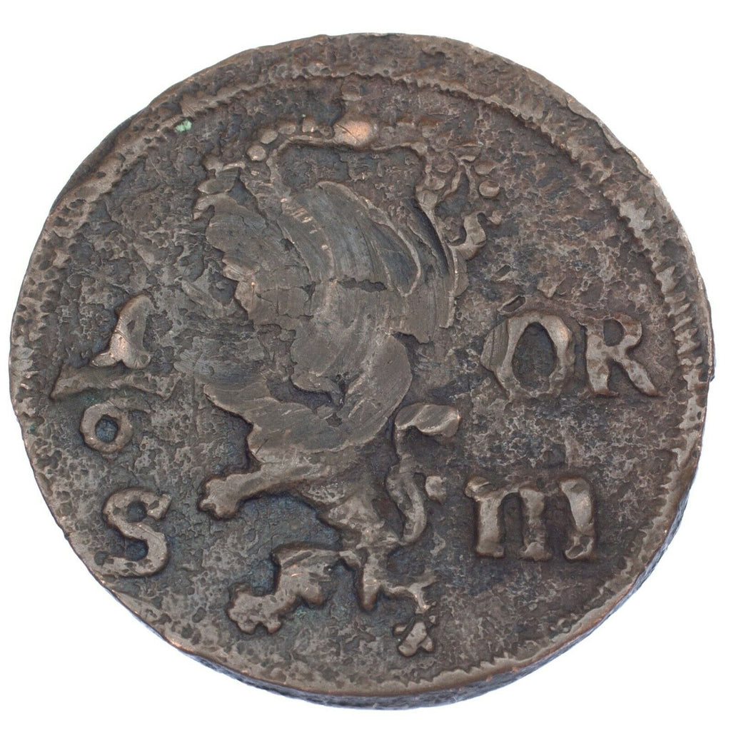 1668/67 Sweden 1/6 Ore Coin in Fine Condition KM #254
