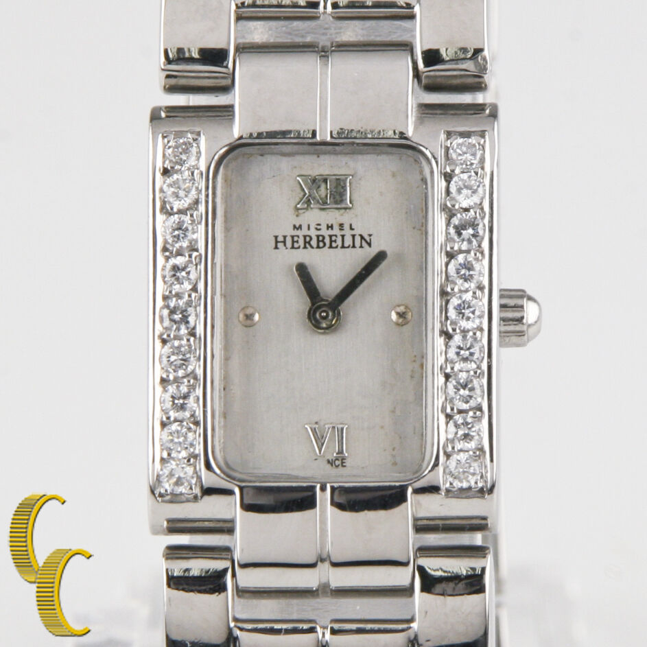 Michel Herbelin Stainless Steel Quartz Watch w/ Diamond Bezel Gift for Her!