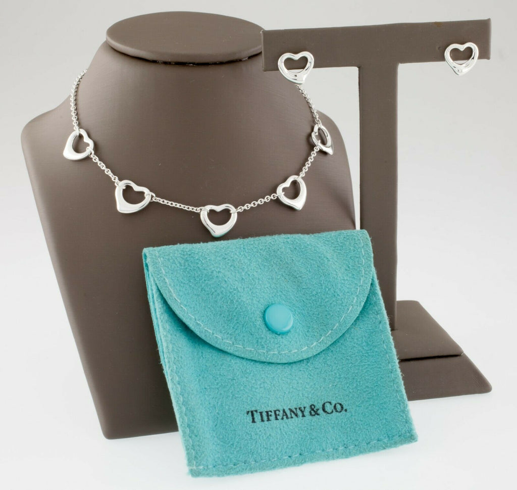 Tiffany & Co. Elsa Peretti Multi-Heart Chain Necklace and Stud Earring Set Pouch