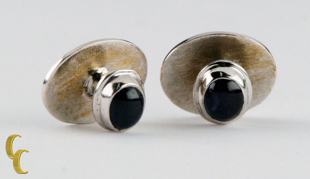 Sapphire Cabochon Cufflinks set in Silver-Colored Metal