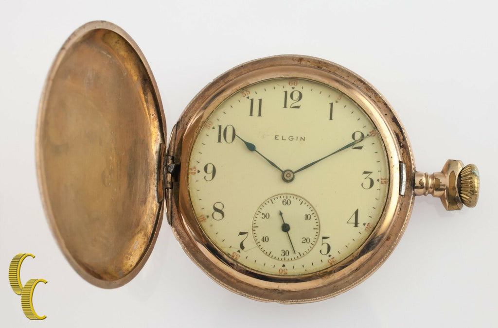 Yellow Gold Filled Antique Elgin Full Hunter Pocket Watch Gr 344 12S 17-Jewel