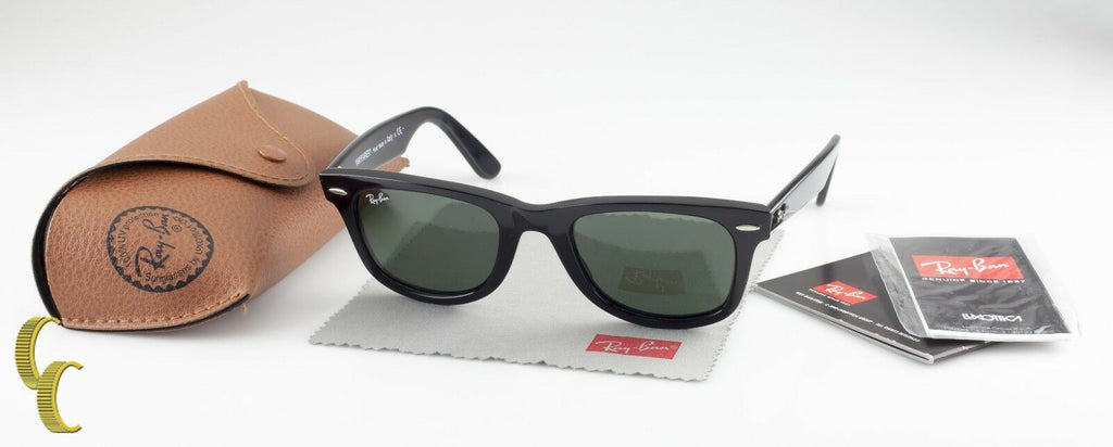 Classic Ray-Ban Black Wayfarer Sunglasses RB2140 w/ Case & Cleaning Cloth