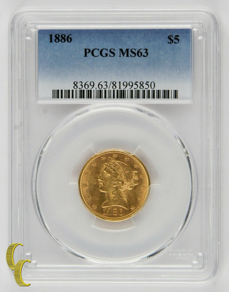 1886 $5 Gold Liberty Half Eagle Graded by PCGS as MS-63! Gorgeous Gold!