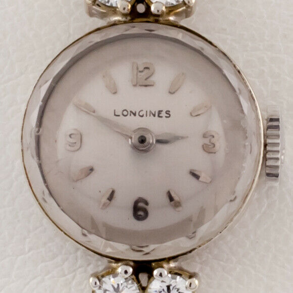 Longines 14k White Gold Diamond Women's Hand-Winding Dress Watch