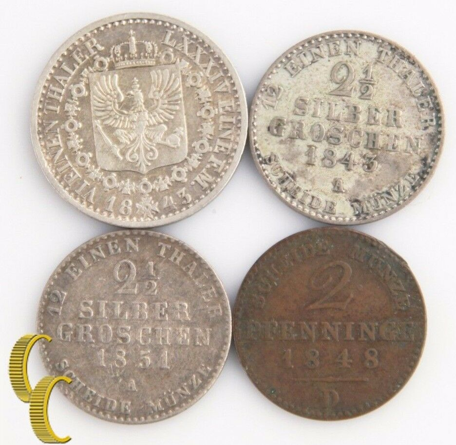 German States Prussia 4-Coin Lot, 1843-51 1/6-Thaler 2-Pfennig 2-1/2 Groschen