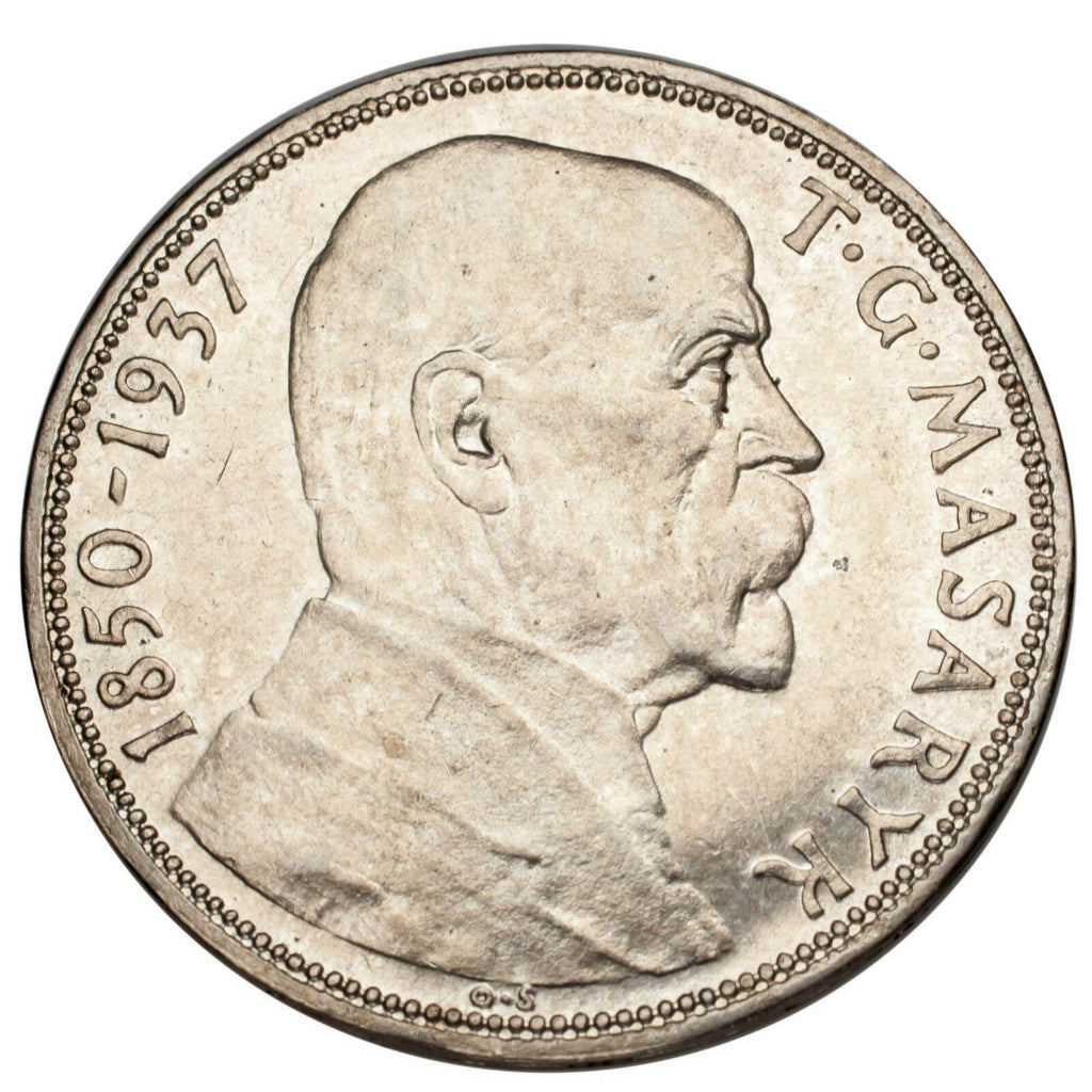 1937 Czechoslovakia Silver 20 Korun KM #18 About Uncirculated Condition