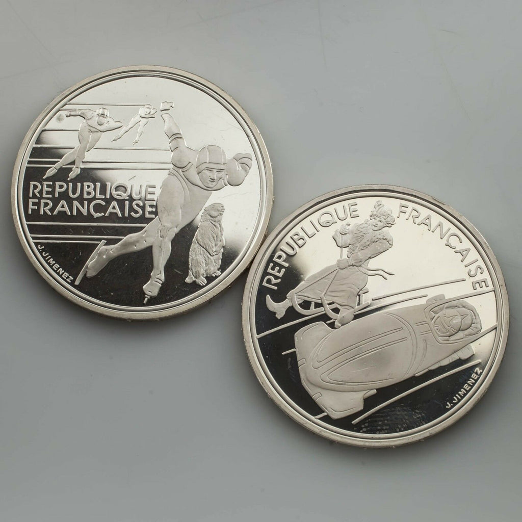 France 1992 Olympics 2 Proof Silver 100 Franc Coins Speed Skaters & Bobsledding