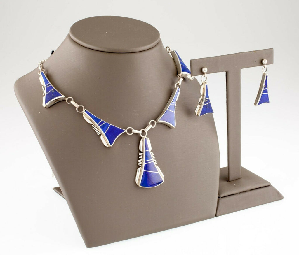 Larry M Chavez .925 Sterling Silver Lapis Navajo Necklace & Earrings Set