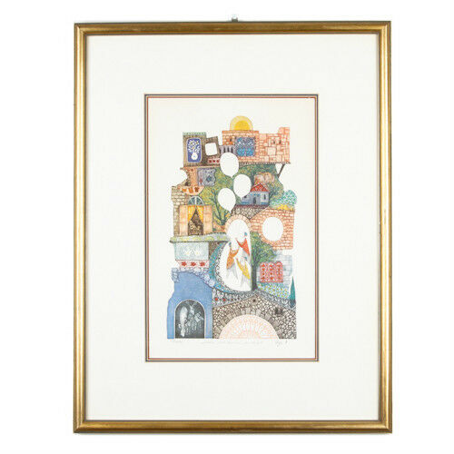 """Children With Balloon In Safat"" By Amram Ebgi Signed Ltd Edition Etching w/ CoA"