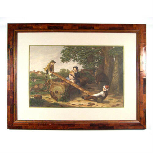 """The See Saw"" by William Mulready Handcolored Engraving Framed 26""x34"""