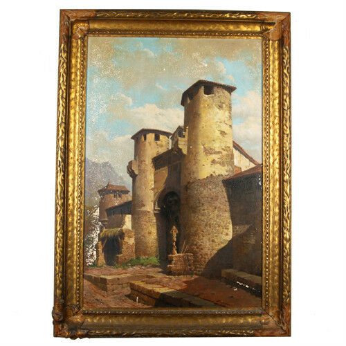 Untitled (Building w/ Two Towers) by Amalio Fernandez Signed 1924 Oil Painting