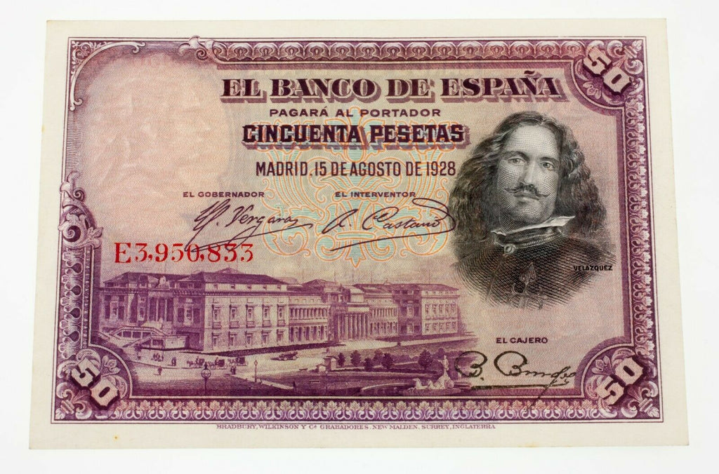 Spain 1928 50 Pesetas Note 15-8-1928 Pick # 75b in Uncirculated Condition