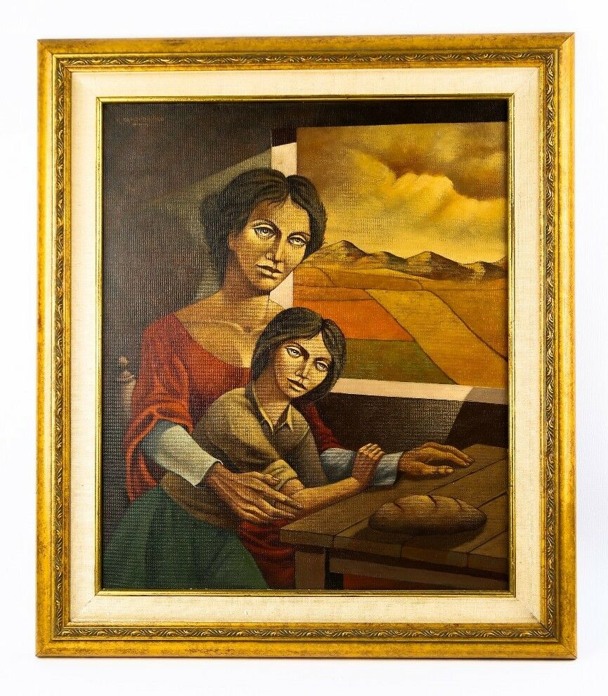 UNTITLED (MOTHER & DAUGHTER LOOKING OUT A WINDOW) BY RODOLFO CAMPODONICO OIL