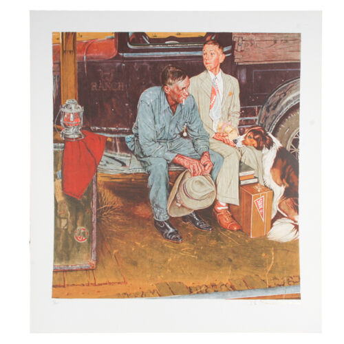 """Breaking Home Ties"" by Norman Rockwell Lithograph on Arches Paper Ettinger Inc."