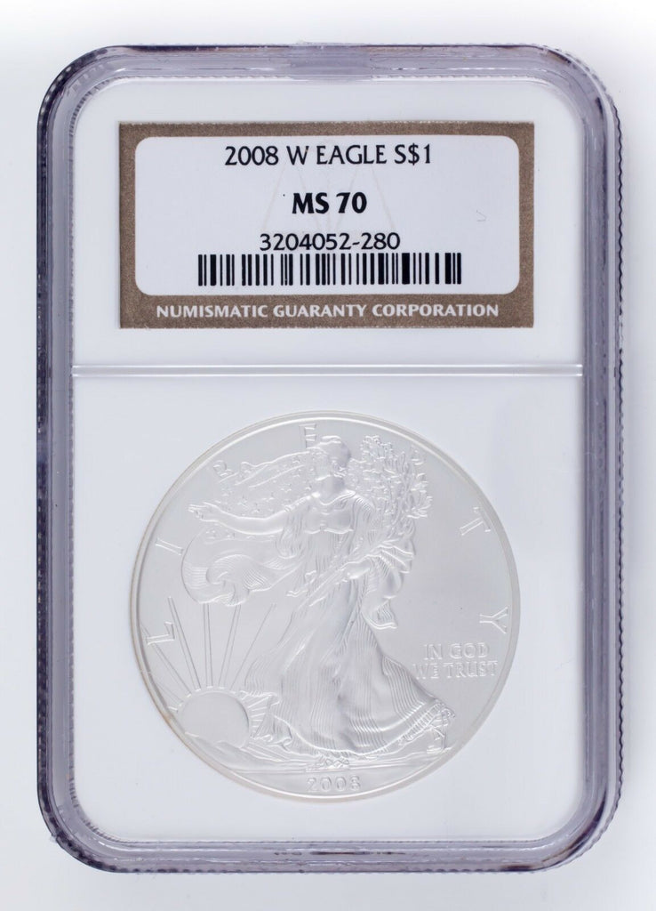 2008-W $1 Burnished Silver American Eagle Graded by NGC as MS70! Nice Strike!