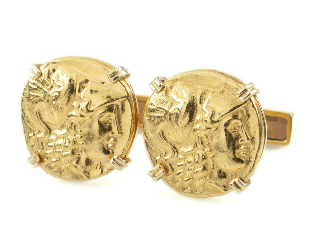 Emis Ancient Gold Coin Re-strike 18k Yellow Gold Cuff Links Set