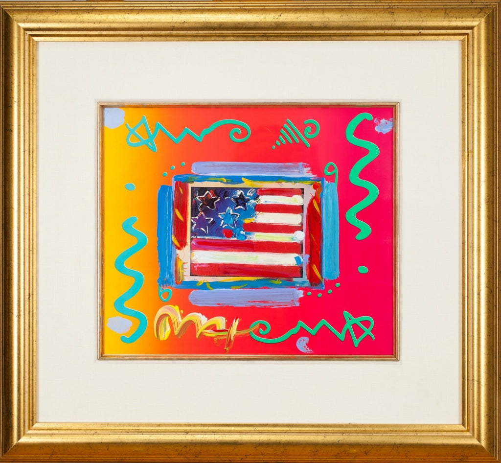 """Flag with Heart"" by Peter Max Acrylic Overpaint Lithograph Signed Framed"