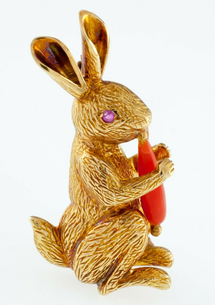 Tiffany & Co. Vintage 18k Yellow Gold Figural Rabbit Brooch w/ Coral Carrot