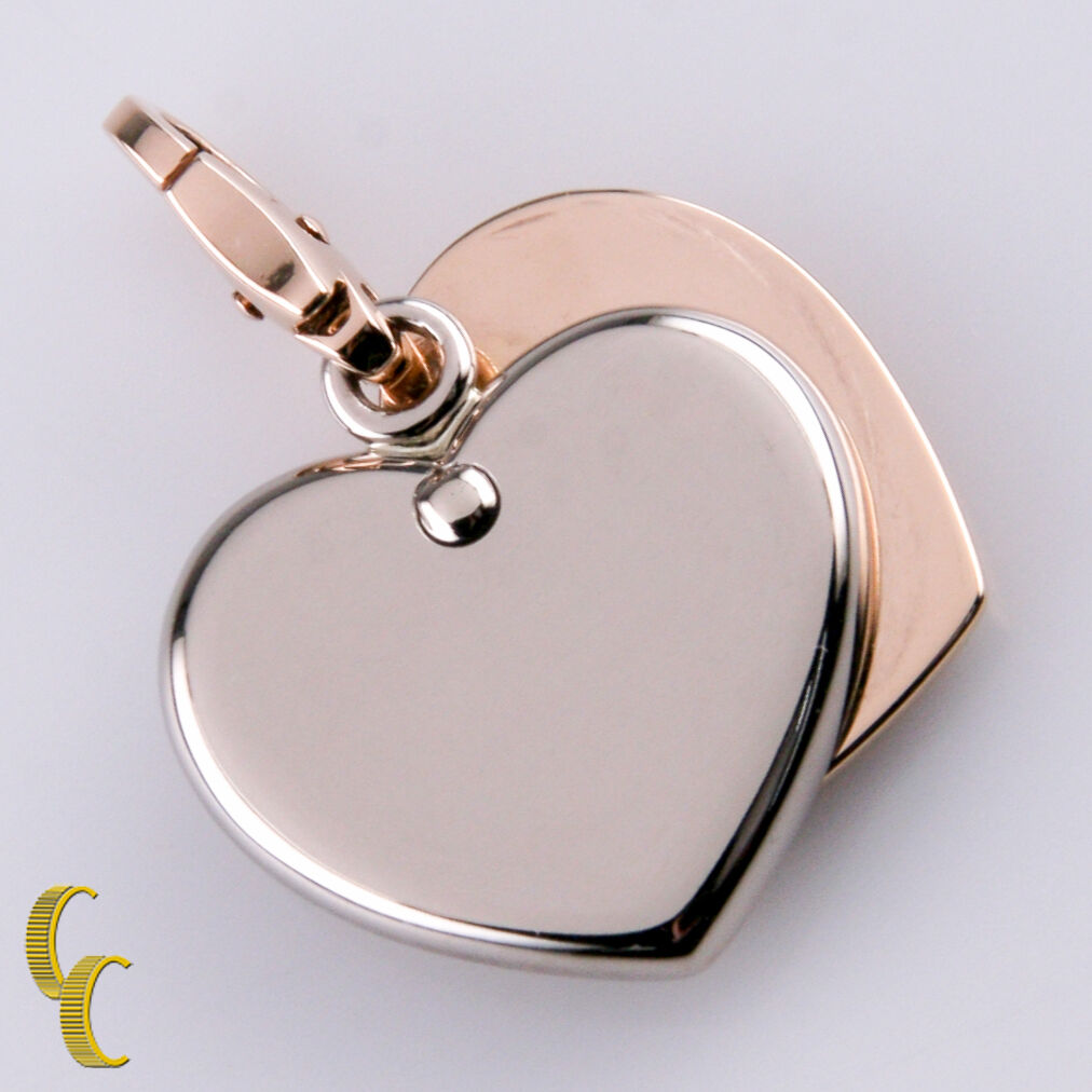 Cartier 18k White and Rose Gold Double Heart Charm, Great Condition!