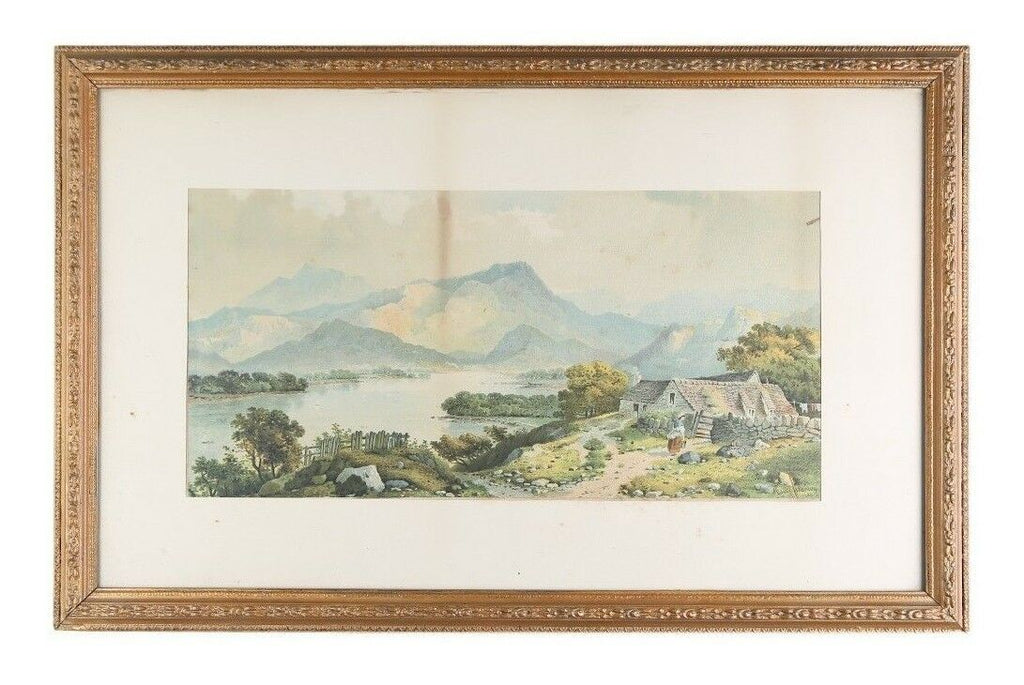"""Untitled"" (Lakeside Cottage) Lithograph by Edwin A Penley, Framed 28x18"""