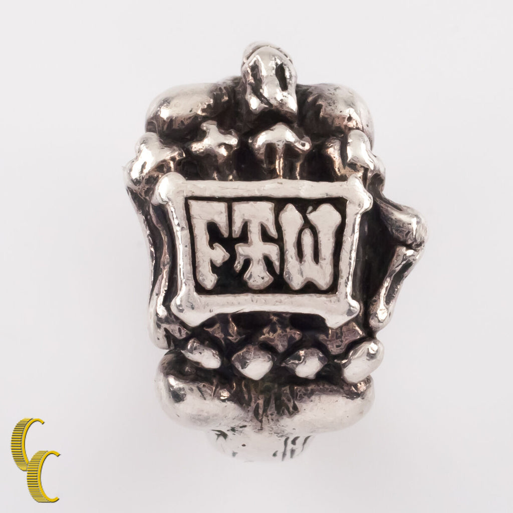 "Rugged Biker Sterling Silver FTW Kreations ""Middle Finger"" Ring Size 9"