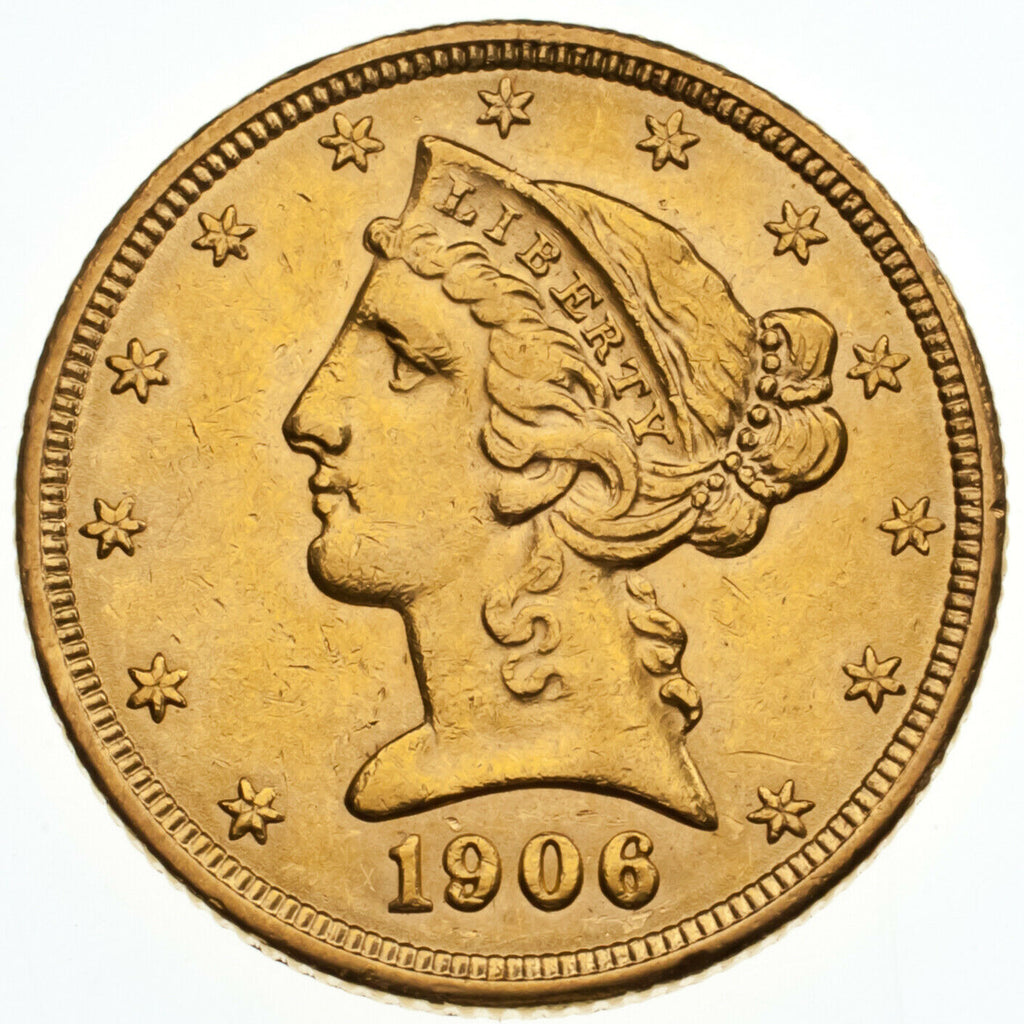 1906 $5 US Gold Liberty Head Half Eagle in AU+ Condition