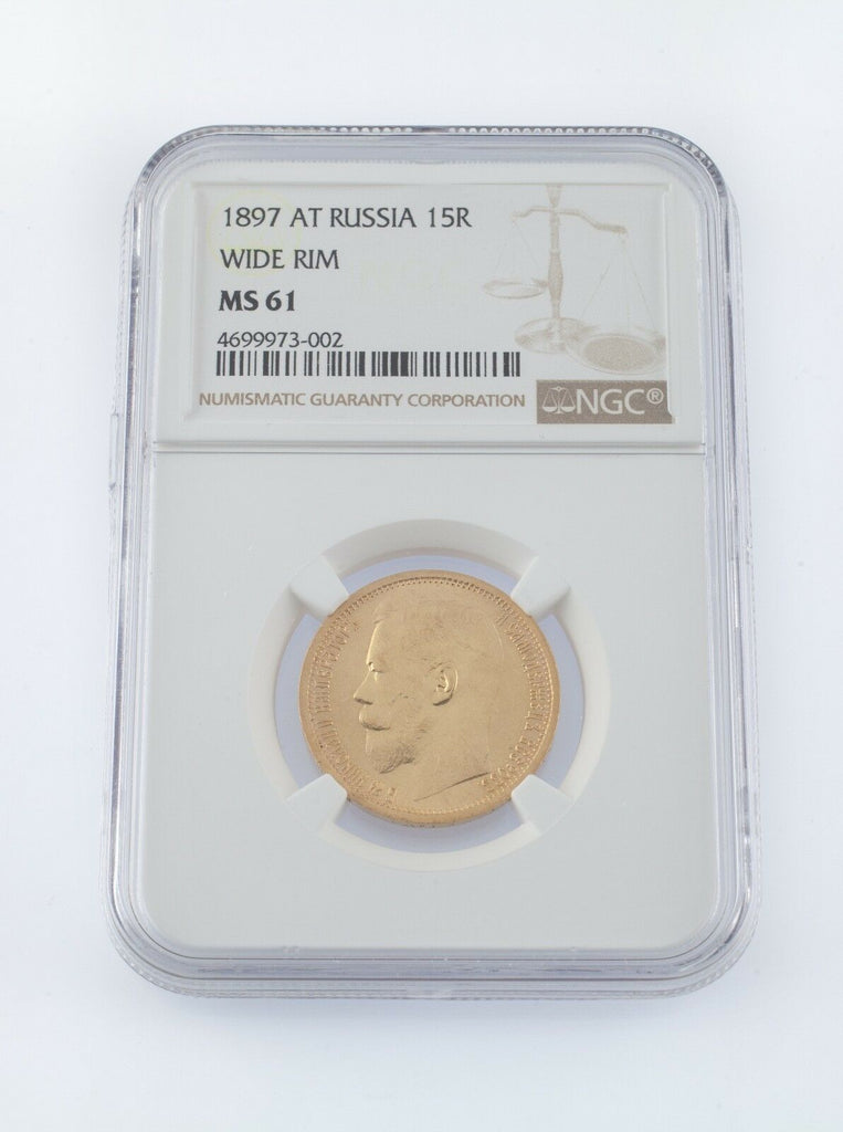 1897 AT Russia 15R Wide Rim Gold Coin Graded by NGC as MS61